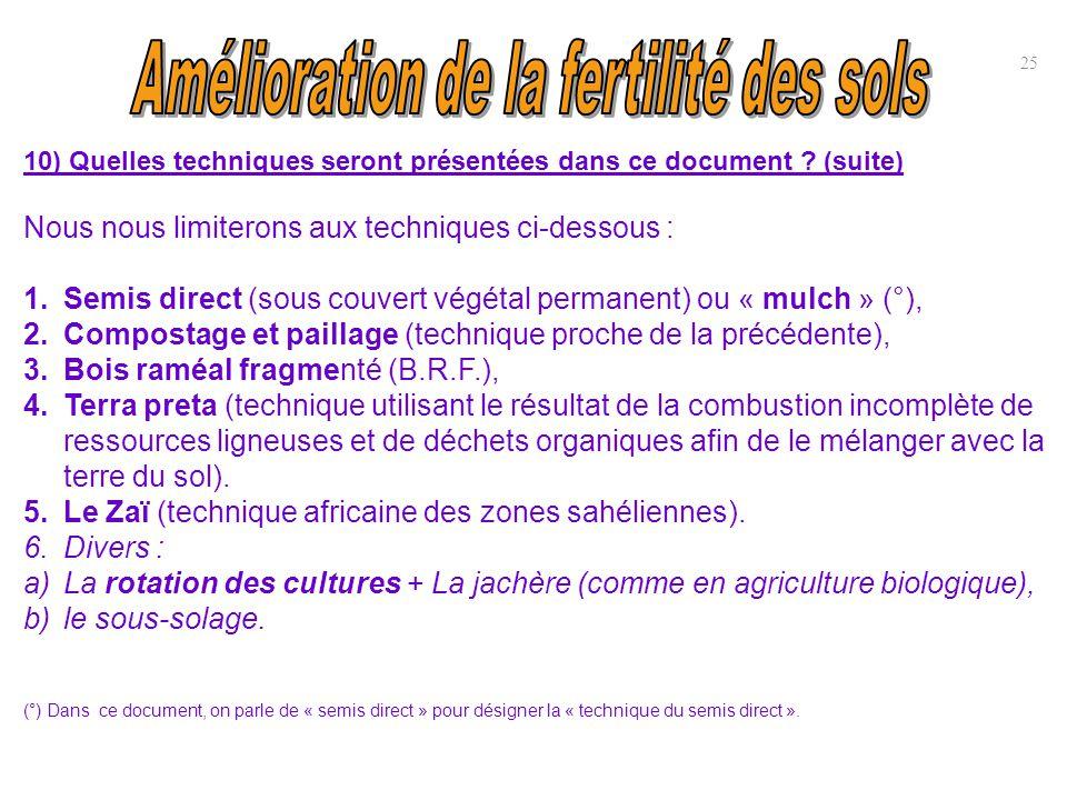 10) Quelles techniques seront présentées dans ce document ? (suite) Nous nous limiterons aux techniques ci-dessous : 1.Semis direct (sous couvert végé