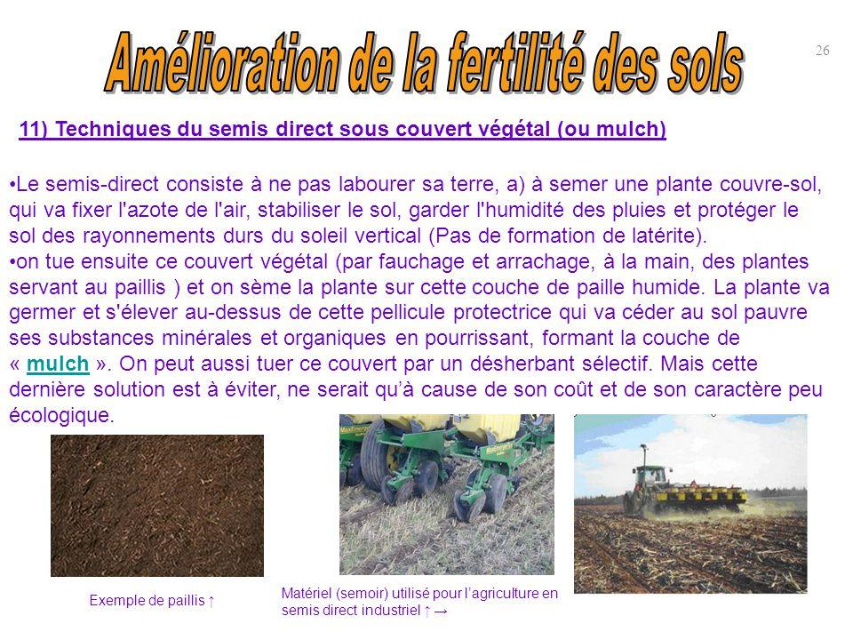 11) Techniques du semis direct sous couvert végétal (ou mulch) 26 Exemple de paillis ↑ Le semis-direct consiste à ne pas labourer sa terre, a) à semer