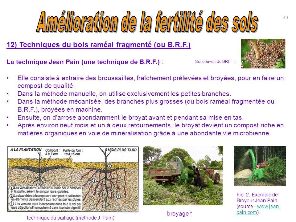 12) Techniques du bois raméal fragmenté (ou B.R.F.) La technique Jean Pain (une technique de B.R.F.) : Elle consiste à extraire des broussailles, fraî