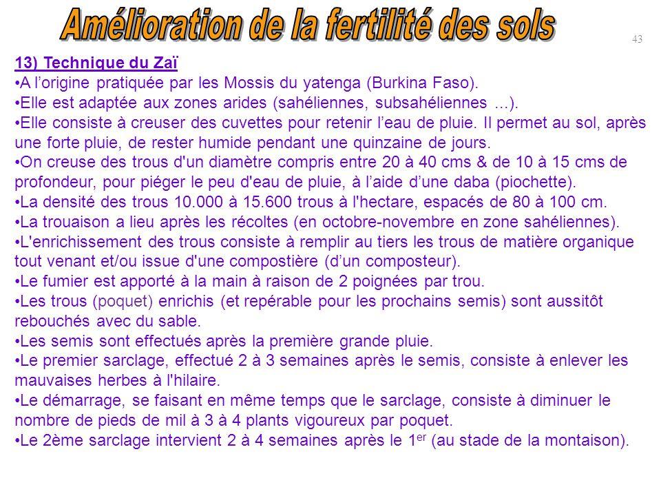 13) Technique du Zaï A l'origine pratiquée par les Mossis du yatenga (Burkina Faso). Elle est adaptée aux zones arides (sahéliennes, subsahéliennes...
