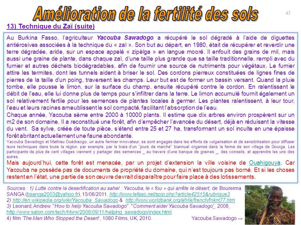 13) Technique du Zaï (suite) 45 Au Burkina Fasso, l'agriculteur Yacouba Sawadogo a récupéré le sol dégradé à l'aide de diguettes antiérosives associée