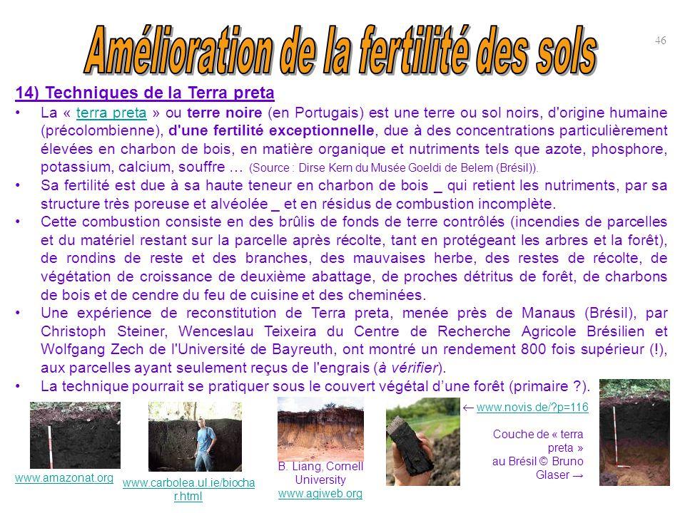 14) Techniques de la Terra preta La « terra preta » ou terre noire (en Portugais) est une terre ou sol noirs, d'origine humaine (précolombienne), d'un