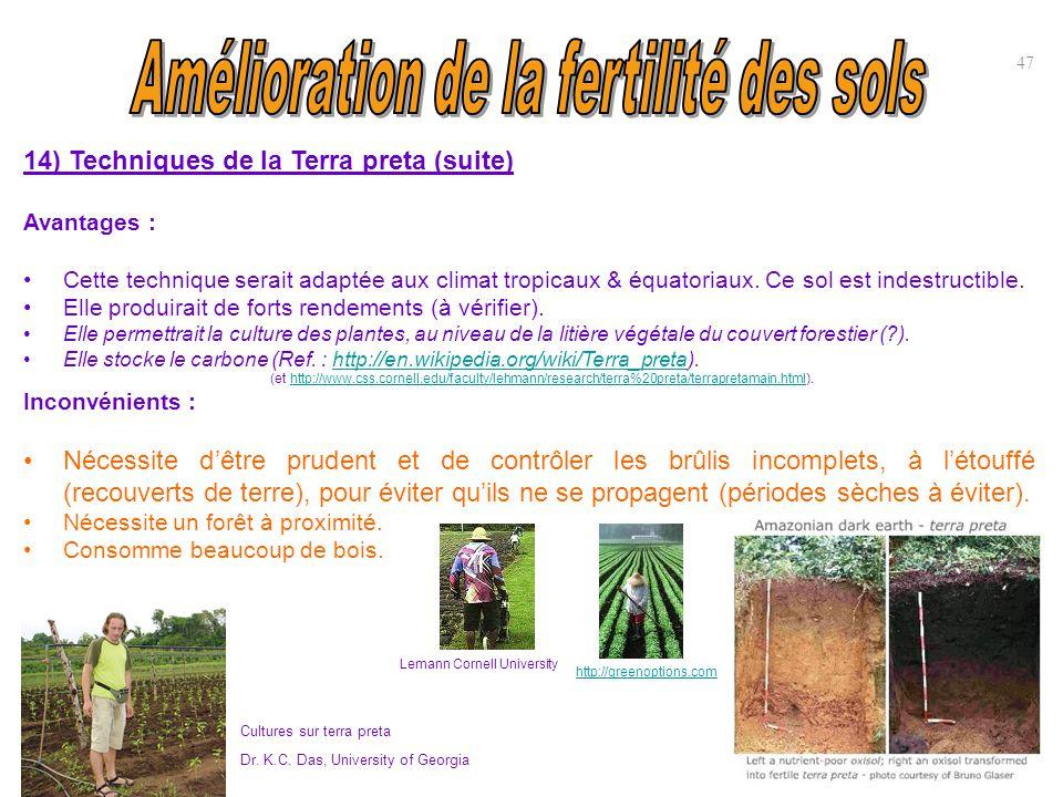 14) Techniques de la Terra preta (suite) Avantages : Cette technique serait adaptée aux climat tropicaux & équatoriaux. Ce sol est indestructible. Ell