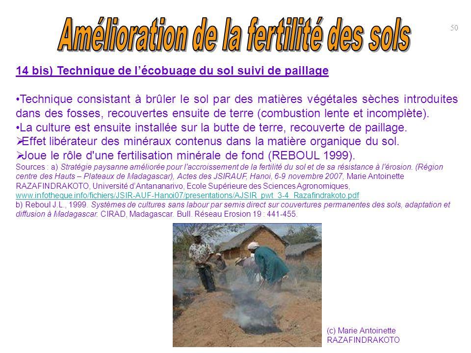 14 bis) Technique de l'écobuage du sol suivi de paillage Technique consistant à brûler le sol par des matières végétales sèches introduites dans des f