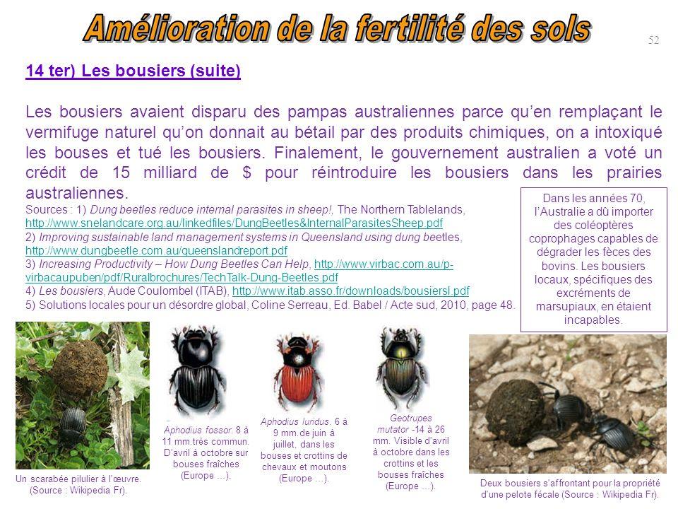 14 ter) Les bousiers (suite) Les bousiers avaient disparu des pampas australiennes parce qu'en remplaçant le vermifuge naturel qu'on donnait au bétail