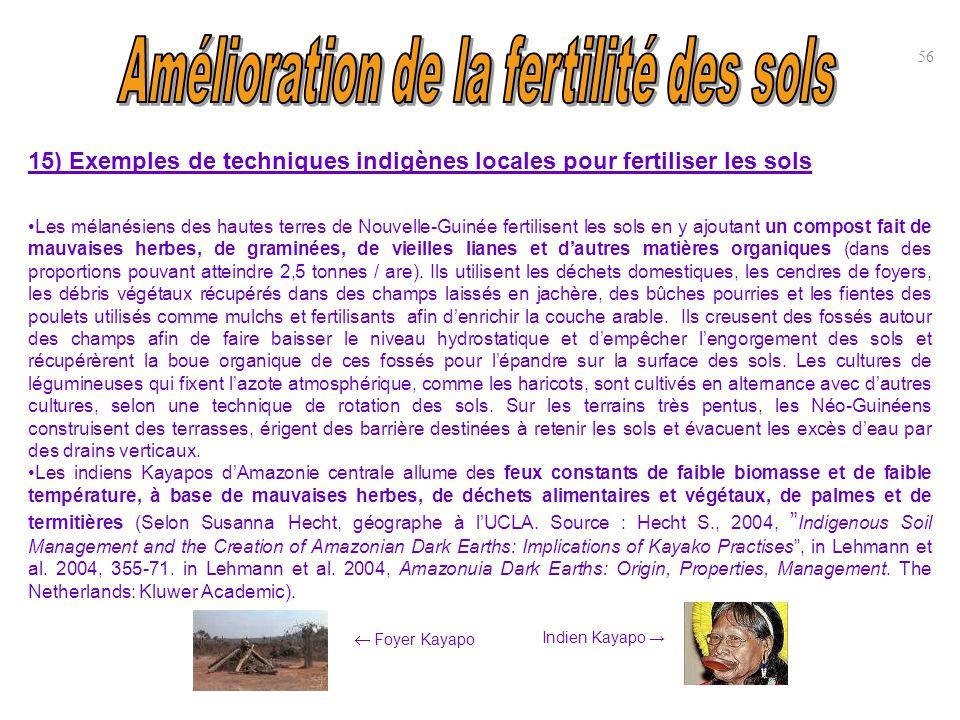 15) Exemples de techniques indigènes locales pour fertiliser les sols Les mélanésiens des hautes terres de Nouvelle-Guinée fertilisent les sols en y a