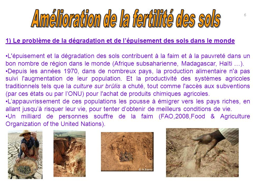 1) Le problème de la dégradation et de l'épuisement des sols dans le monde (suite) Près de 40% des terres cultivables de notre planète sont dégradées (Source : UNEP (United Nations Environnement Programme), ISRIC World Soil Information, www.unep.org/geo/geo3/french).