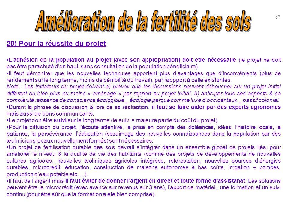 20) Pour la réussite du projet L'adhésion de la population au projet (avec son appropriation) doit être nécessaire (le projet ne doit pas être parachu