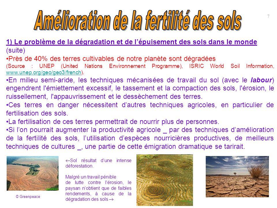 1) Le problème de la dégradation et de l'épuisement des sols dans le monde (suite) Près de 40% des terres cultivables de notre planète sont dégradées