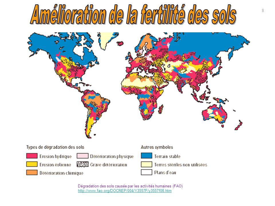 ↑Les graphiques à secteur et la carte ci-dessus montrent l étendue des zones, partout dans le monde, où les sols sont dégradés, avec leur localisation.