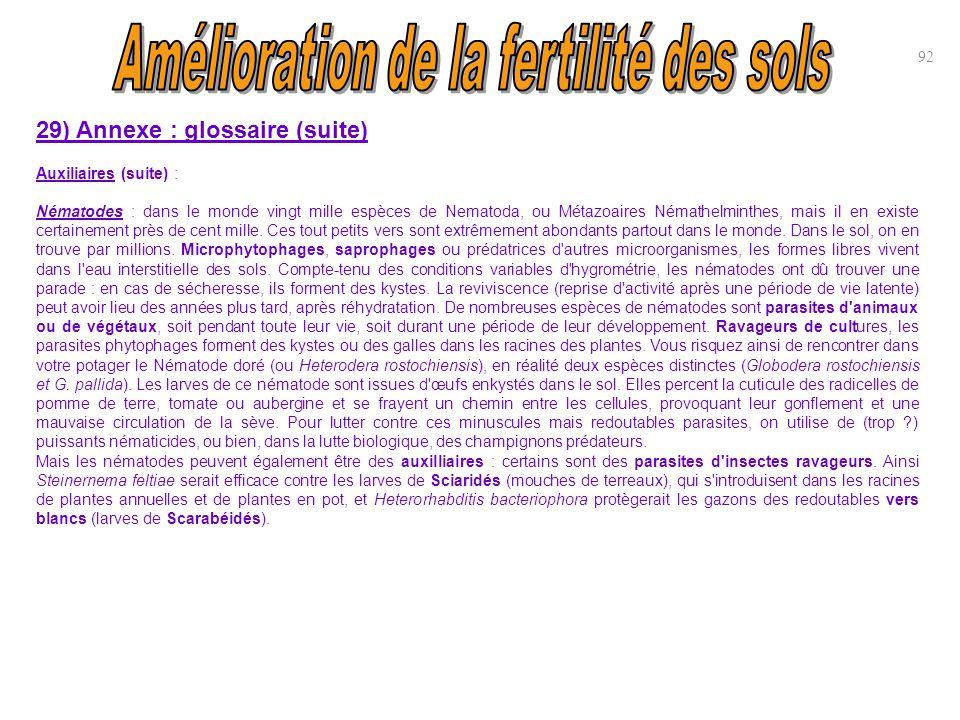 92 29) Annexe : glossaire (suite) Auxiliaires (suite) : Nématodes : dans le monde vingt mille espèces de Nematoda, ou Métazoaires Némathelminthes, mai