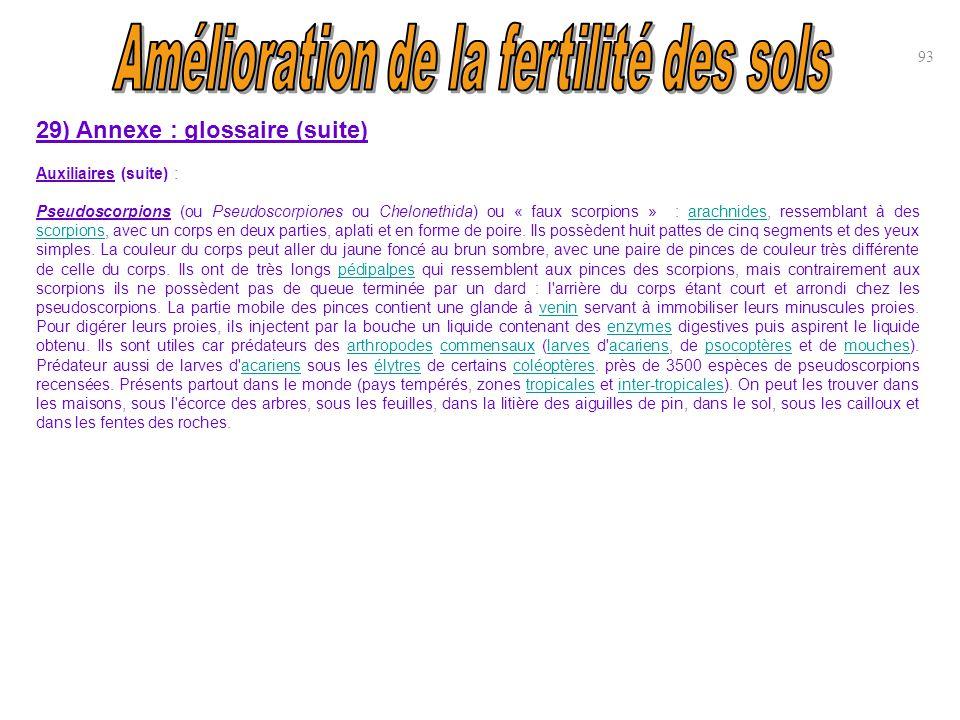 93 29) Annexe : glossaire (suite) Auxiliaires (suite) : Pseudoscorpions (ou Pseudoscorpiones ou Chelonethida) ou « faux scorpions » : arachnides, ress