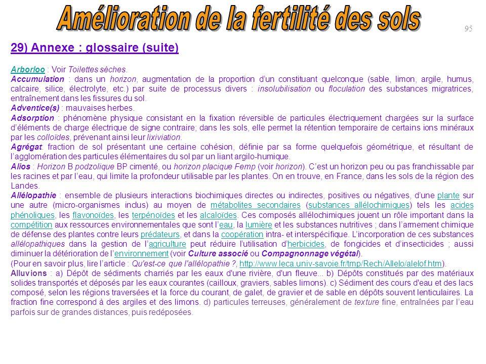 95 29) Annexe : glossaire (suite) ArborlooArborloo : Voir Toilettes sèches. Accumulation : dans un horizon, augmentation de la proportion d'un constit
