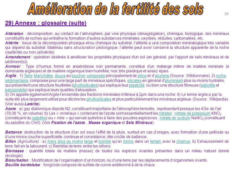 96 29) Annexe : glossaire (suite) Altération : décomposition, au contact de l'atmosphère, par voie physique (désagrégation), chimique, biologique, des