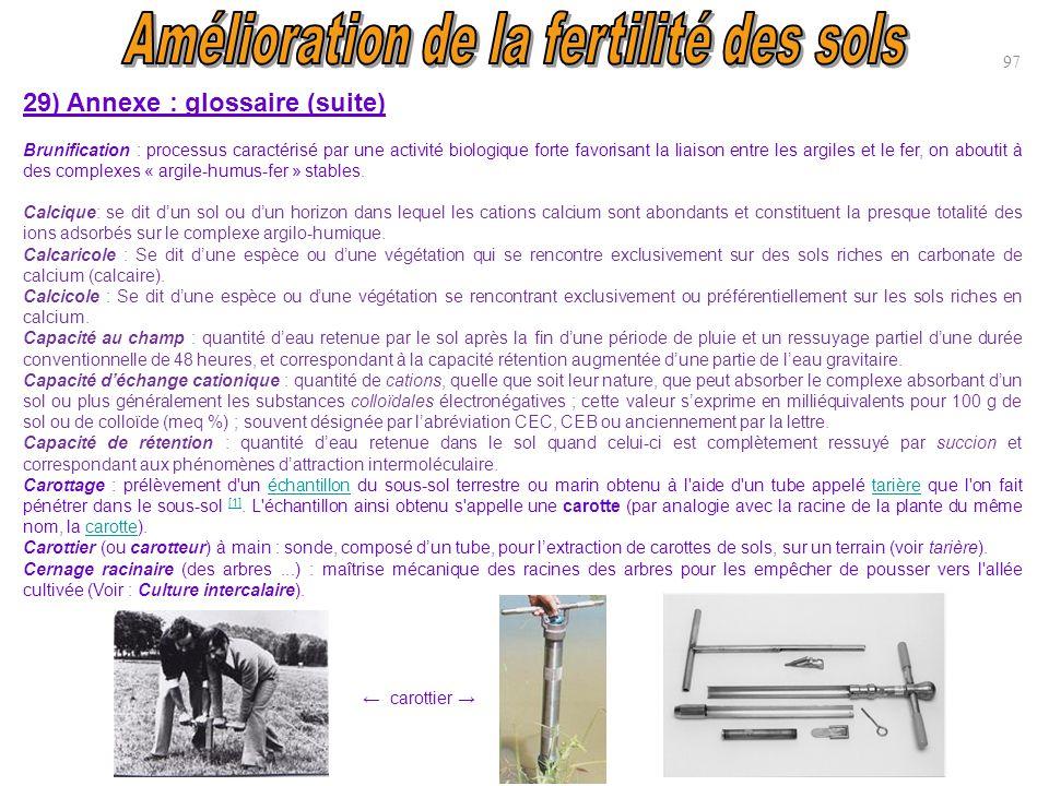 97 29) Annexe : glossaire (suite) Brunification : processus caractérisé par une activité biologique forte favorisant la liaison entre les argiles et l