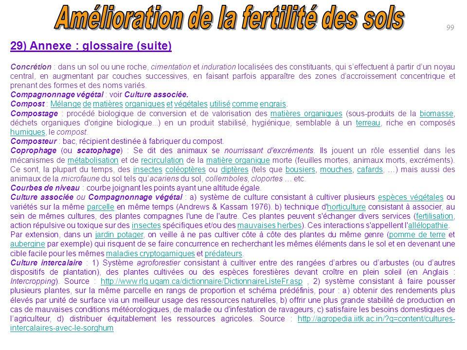 99 29) Annexe : glossaire (suite) Concrétion : dans un sol ou une roche, cimentation et induration localisées des constituants, qui s'effectuent à par