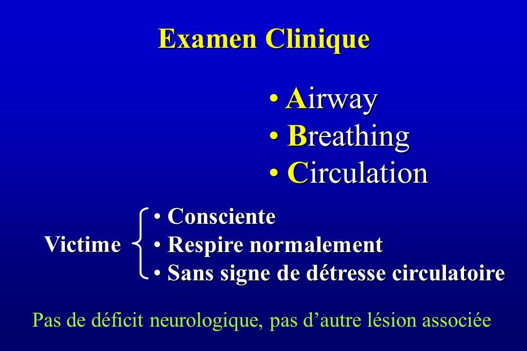 Examen Clinique Airway Airway Breathing Breathing Circulation Circulation Consciente Consciente Respire normalement Respire normalement Sans signe de