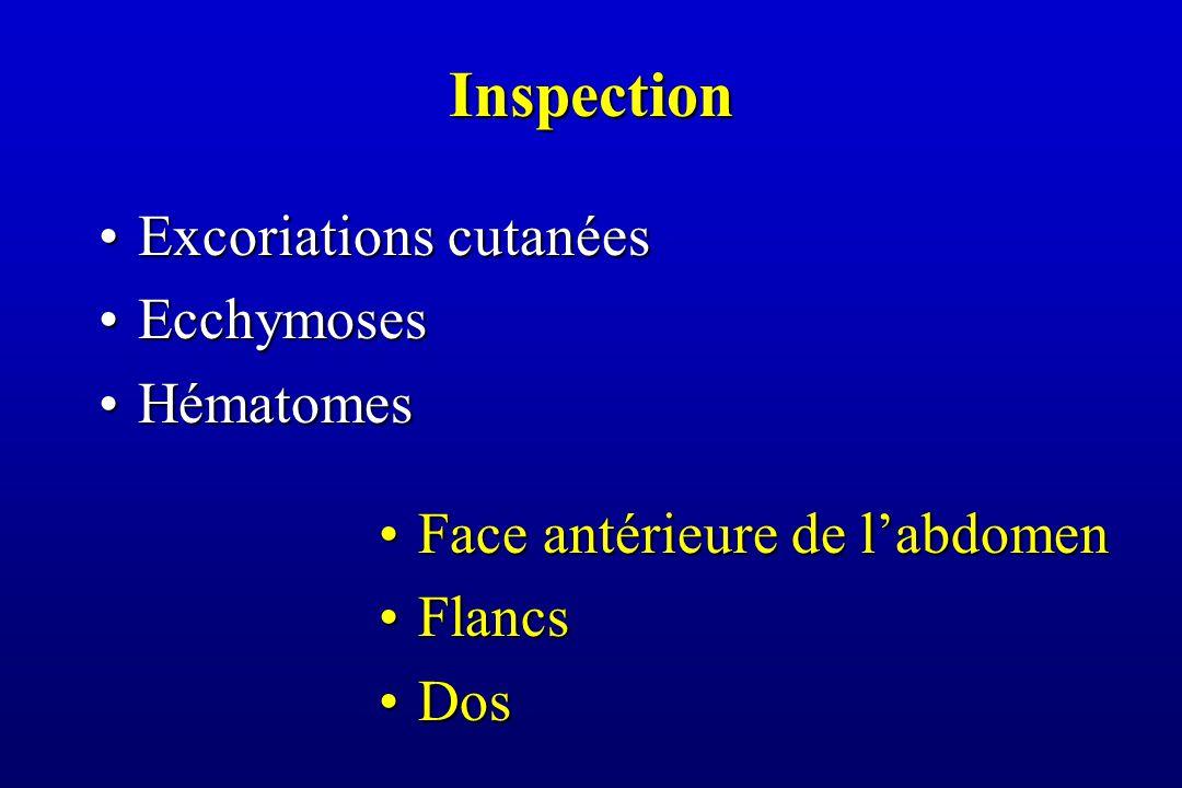 Inspection Excoriations cutanéesExcoriations cutanées EcchymosesEcchymoses HématomesHématomes Face antérieure de l'abdomenFace antérieure de l'abdomen FlancsFlancs DosDos