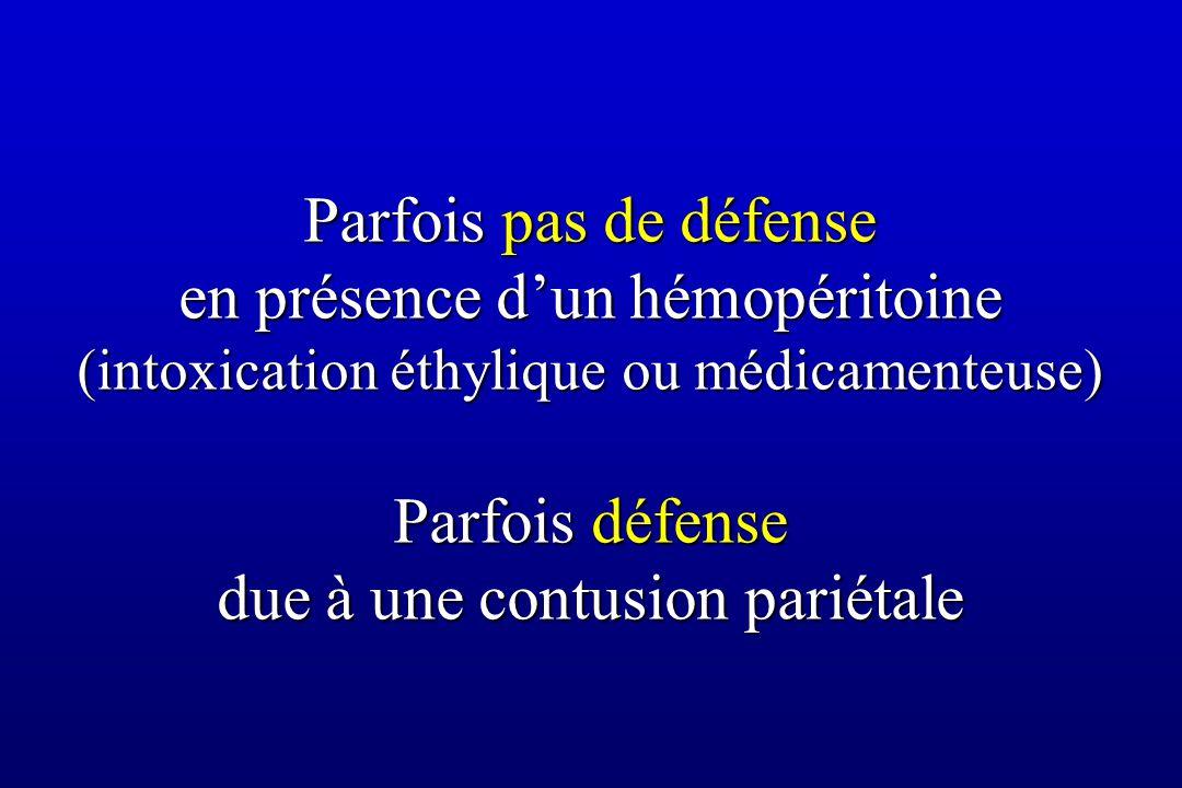 Parfois pas de défense en présence d'un hémopéritoine (intoxication éthylique ou médicamenteuse) Parfois défense due à une contusion pariétale