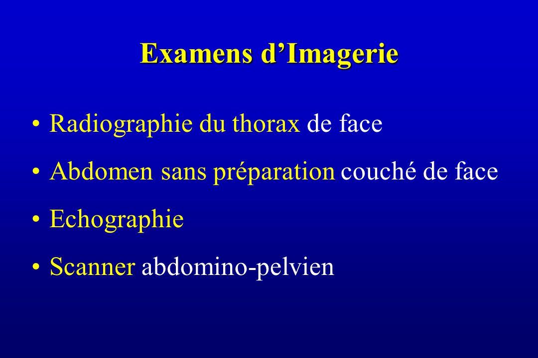 Examens d'Imagerie Radiographie du thorax de face Abdomen sans préparation couché de face Echographie Scanner abdomino-pelvien