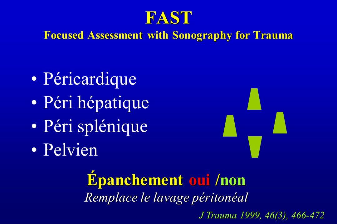 FAST Focused Assessment with Sonography for Trauma Péri hépatique Péri splénique Pelvien Péricardique Épanchement oui /non Remplace le lavage péritonéal J Trauma 1999, 46(3), 466-472