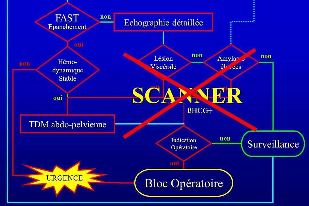 Hémo- dynamique Stable Surveillance Amylases élevées Echographie détaillée TDM abdo-pelvienne oui FAST Epanchement oui Bloc Opératoire non Lésion Visc