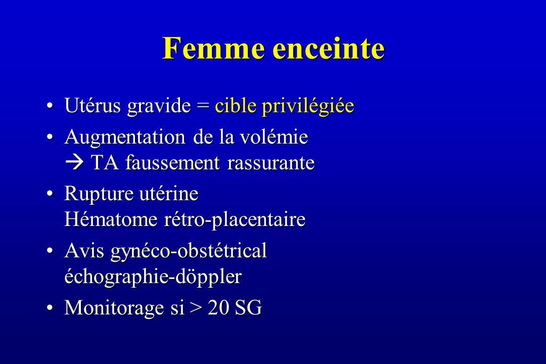 Femme enceinte Utérus gravide = cible privilégiéeUtérus gravide = cible privilégiée Augmentation de la volémie  TA faussement rassuranteAugmentation de la volémie  TA faussement rassurante Rupture utérine Hématome rétro-placentaireRupture utérine Hématome rétro-placentaire Avis gynéco-obstétrical échographie-döpplerAvis gynéco-obstétrical échographie-döppler Monitorage si > 20 SGMonitorage si > 20 SG