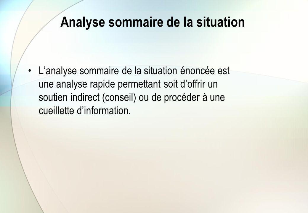 Analyse sommaire de la situation L'analyse sommaire de la situation énoncée est une analyse rapide permettant soit d'offrir un soutien indirect (conse