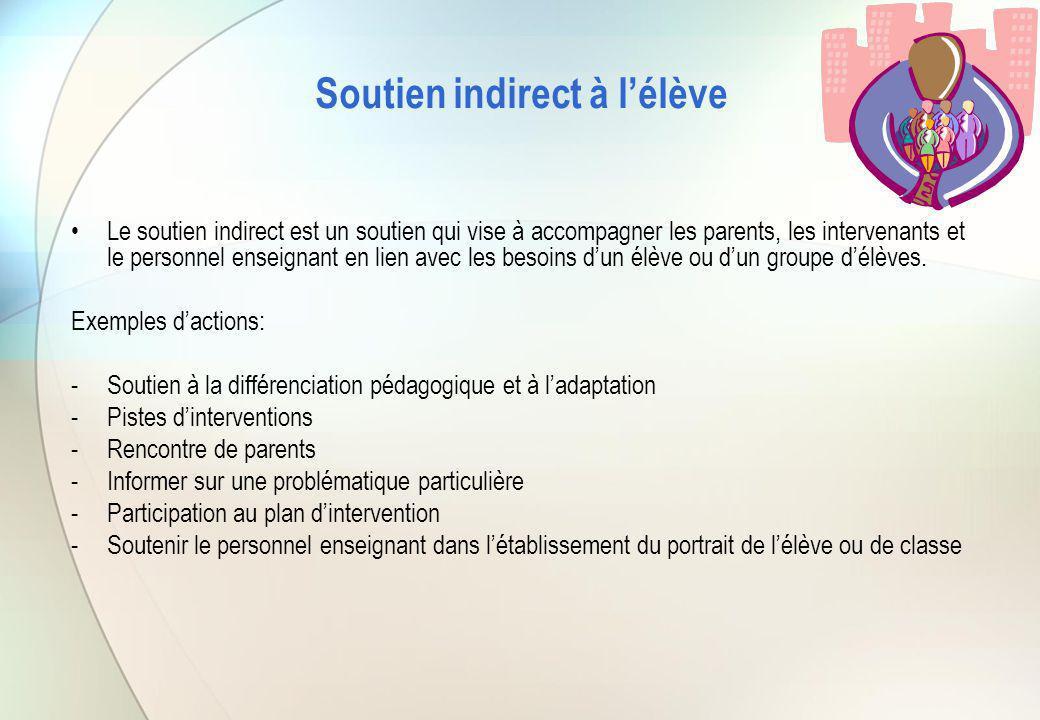 Soutien indirect à l'élève Le soutien indirect est un soutien qui vise à accompagner les parents, les intervenants et le personnel enseignant en lien