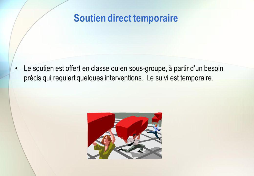 Soutien direct temporaire Le soutien est offert en classe ou en sous-groupe, à partir d'un besoin précis qui requiert quelques interventions. Le suivi
