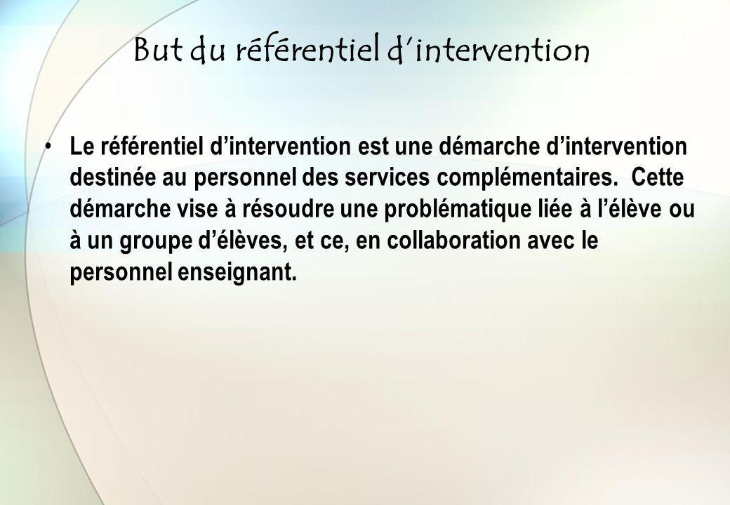 But du référentiel d'intervention Le référentiel d'intervention est une démarche d'intervention destinée au personnel des services complémentaires. Ce