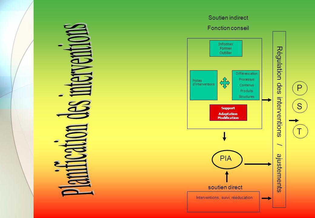 PIA Soutien indirect Fonction conseil Régulation des interventions / ajustements soutien direct T S P Informer Former Outiller Pistes d'interventions