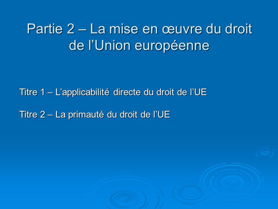 Titre 1 – L'applicabilité directe du droit de l'UE Définition de l'applicabilité directe/de l'effet direct Définition de l'applicabilité directe/de l'effet direct  Section 1 Le principe de l'effet direct § 1 L'affirmation jurisprudentielle du principe Arrêt Van Gend en Loos (1963) Arrêt Van Gend en Loos (1963) Présomption d'effet direct du droit des traitésPrésomption d'effet direct du droit des traités Arrêt Ratti (1979) Arrêt Ratti (1979) Conditions nécessaires à la reconnaissance de l'effet directConditions nécessaires à la reconnaissance de l'effet direct Critère déterminant de l'inconditionnalitéCritère déterminant de l'inconditionnalité