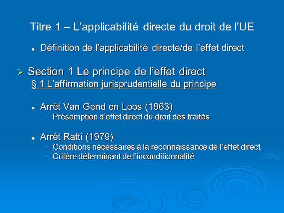 Titre 1 – L'applicabilité directe du droit de l'UE  § 2 Les sources de l'UE directement applicables/d'effet direct A – L'effet direct de certaines dispositions des traités A – L'effet direct de certaines dispositions des traités Les dispositions présentant un effet direct horizontalLes dispositions présentant un effet direct horizontal Les dispositions présentant un effet direct verticalLes dispositions présentant un effet direct vertical B – L'effet direct du règlement B – L'effet direct du règlement Effet direct inscrit dans le traité: un effet direct horizontal et verticalEffet direct inscrit dans le traité: un effet direct horizontal et vertical