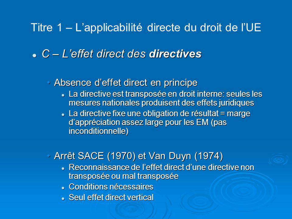 Titre 1 – L'applicabilité directe du droit de l'UE D – L'effet direct des accords internationaux D – L'effet direct des accords internationaux Reconnaissance de l'effet direct au cas par cas des accords conclus par la CE/l'UEReconnaissance de l'effet direct au cas par cas des accords conclus par la CE/l'UE Arrêt Demirel (1987): effet direct dans les conditions fixées par l'arrêt Van Gen en LoosArrêt Demirel (1987): effet direct dans les conditions fixées par l'arrêt Van Gen en Loos Effet direct de dispositions d'accords d'association ou de coopération Effet direct de dispositions d'accords d'association ou de coopération Refus de reconnaître l'effet direct au GATT et OMC.