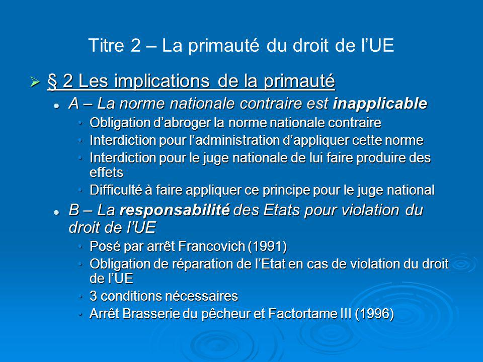 Titre 2 – La primauté du droit de l'UE  § 2 Les implications de la primauté A – La norme nationale contraire est inapplicable A – La norme nationale