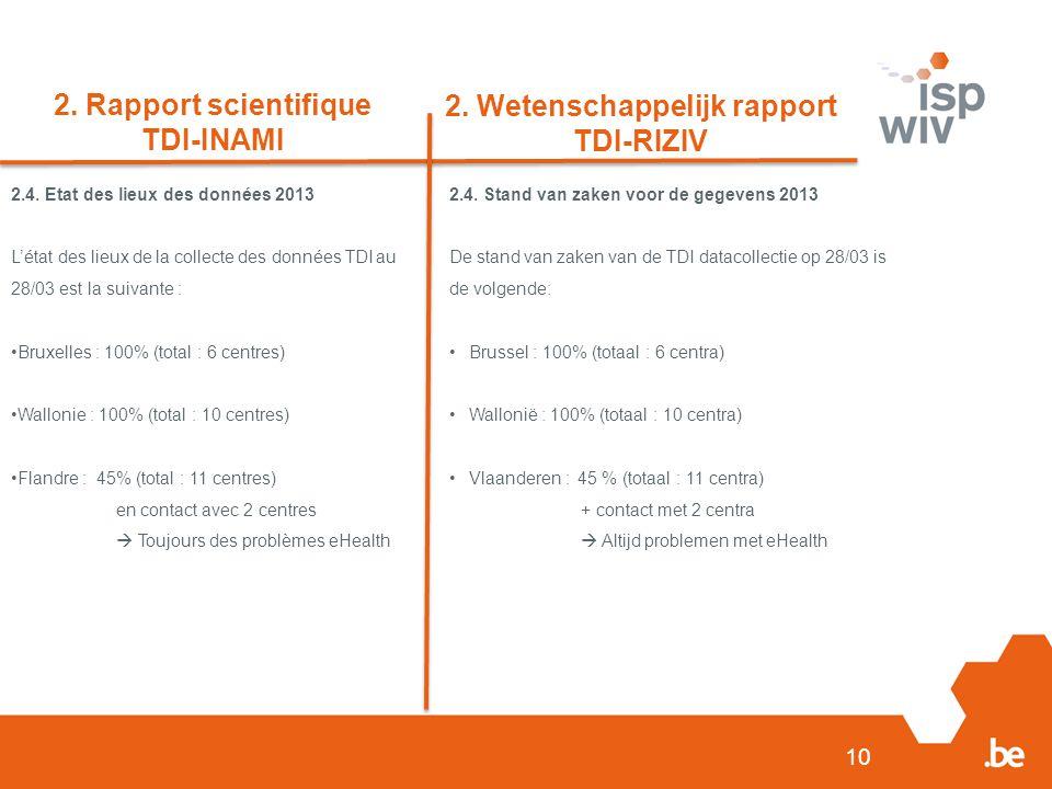 10 2. Rapport scientifique TDI-INAMI 2. Wetenschappelijk rapport TDI-RIZIV 2.4.