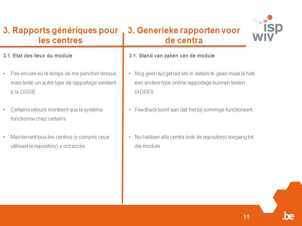 11 3. Rapports génériques pour les centres 3. Generieke rapporten voor de centra 3.1.