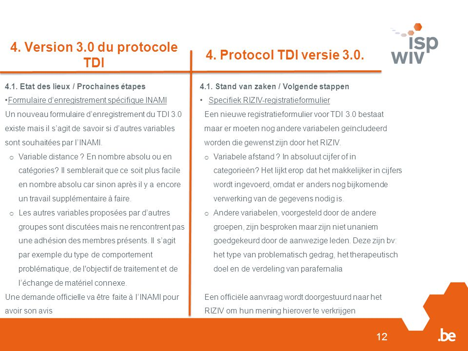 12 4. Version 3.0 du protocole TDI 4. Protocol TDI versie 3.0.