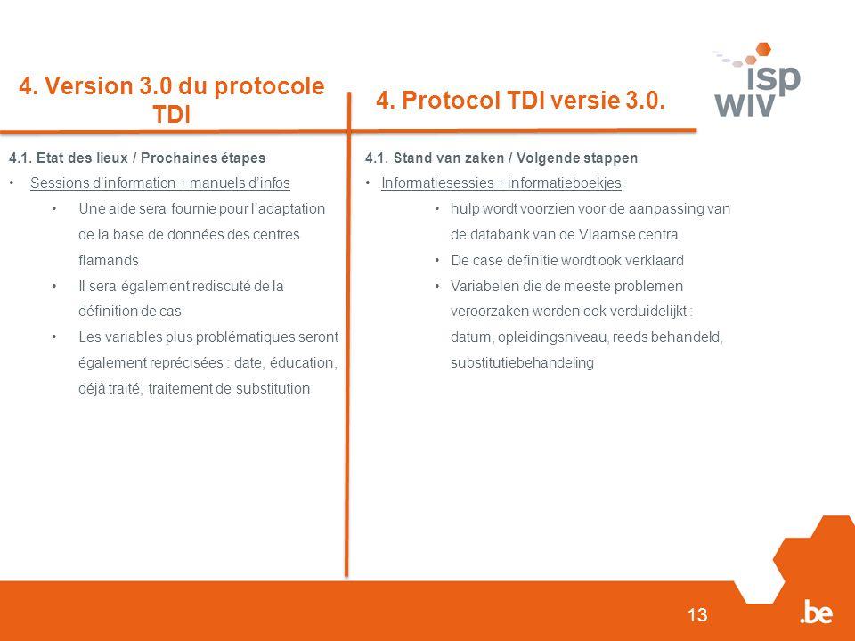 13 4. Version 3.0 du protocole TDI 4. Protocol TDI versie 3.0.