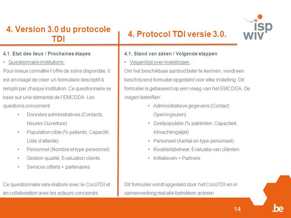 14 4. Version 3.0 du protocole TDI 4. Protocol TDI versie 3.0.