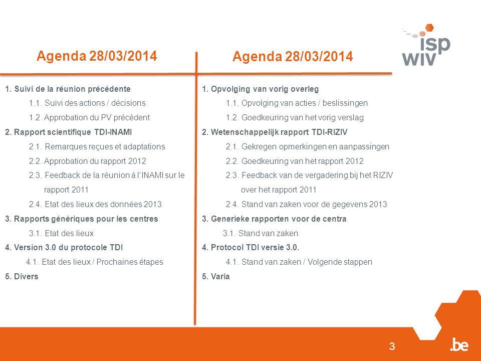 3 Agenda 28/03/2014 1. Suivi de la réunion précédente 1.1.