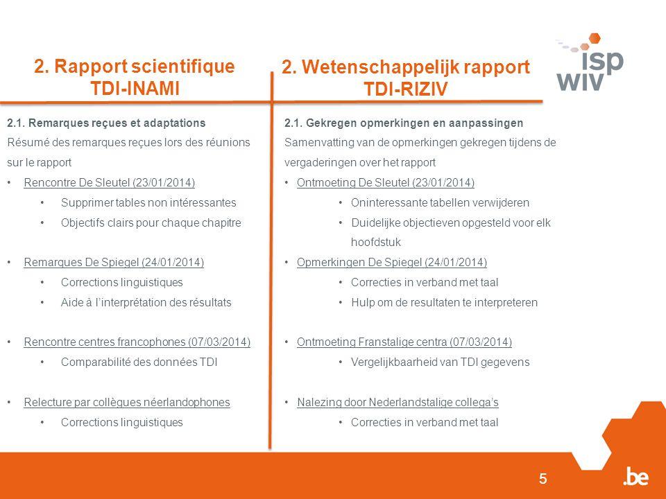 5 2. Rapport scientifique TDI-INAMI 2. Wetenschappelijk rapport TDI-RIZIV 2.1.