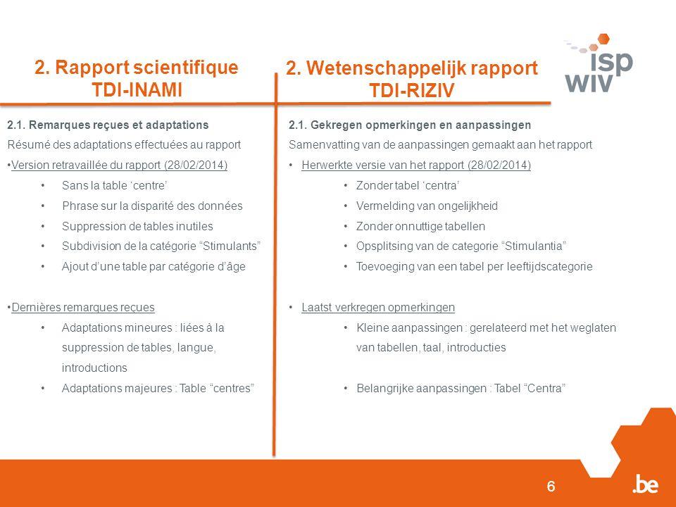 6 2. Rapport scientifique TDI-INAMI 2. Wetenschappelijk rapport TDI-RIZIV 2.1.