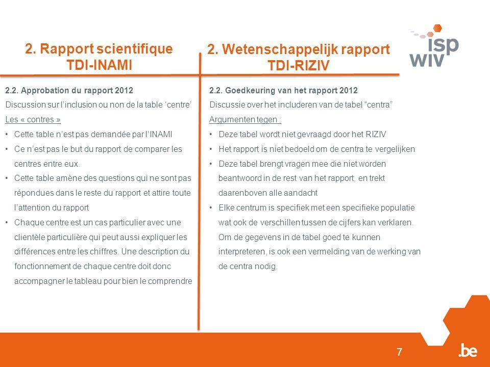 7 2. Rapport scientifique TDI-INAMI 2. Wetenschappelijk rapport TDI-RIZIV 2.2.