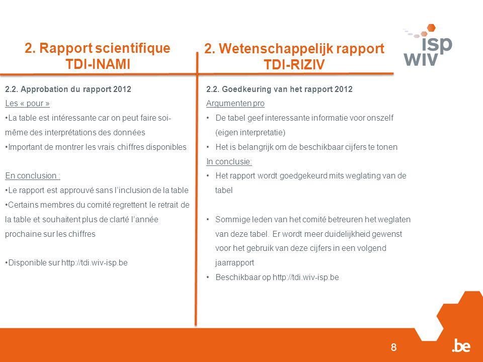 8 2. Rapport scientifique TDI-INAMI 2. Wetenschappelijk rapport TDI-RIZIV 2.2.