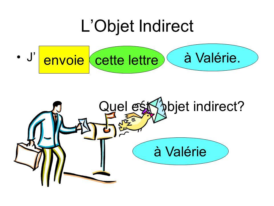 L'Objet Indirect Janine un cadeaudonneà son amie Quel est l'objet indirect? à son amie