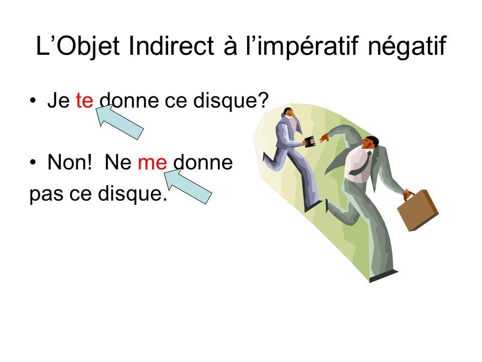 L'Objet Indirect à l'impératif Le pronom se place après le verbe à l'impératif. Je lui envoie un message? Oui, envoie-lui un message.