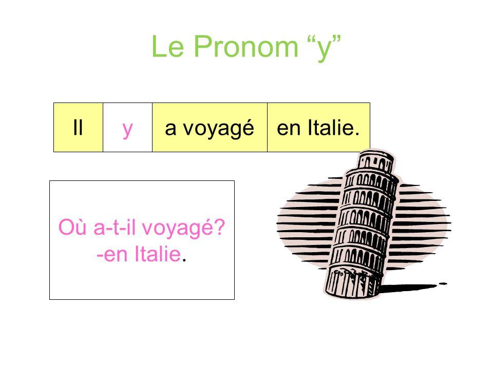 """Le Pronom """"y"""" Le pronom """"y"""" répond à la question """"où?"""". Le pronom """"y"""" remplace … Une préposition + un lieu sous sur dans devant à derrière au dessus a"""