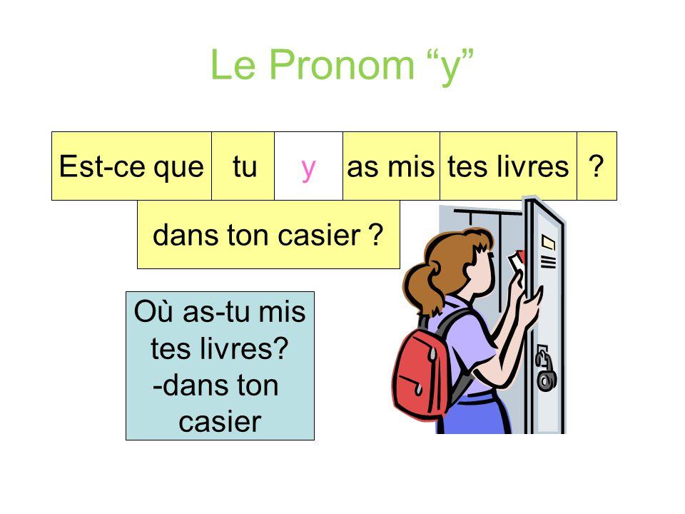 """Le Pronom """"y"""" Ila voyagéen Italie. y Où a-t-il voyagé? -en Italie."""